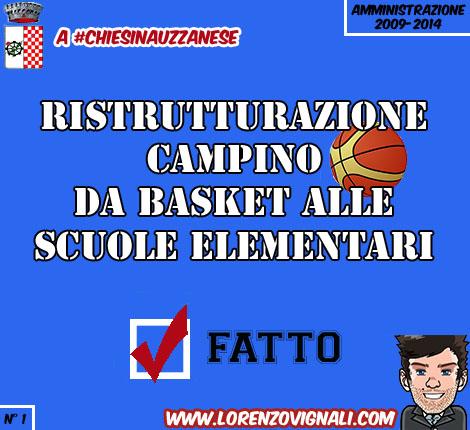 Ristrutturazione campino da basket alle Scuole Elementari.