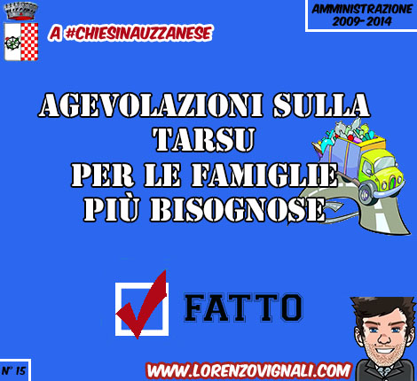 Agevolazioni sulla TARSU per le famiglie più bisognose.