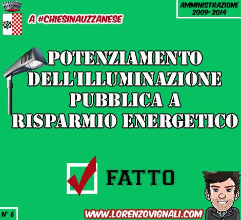 Potenziamento dell'illuminazione pubblica a risparmio energetico.