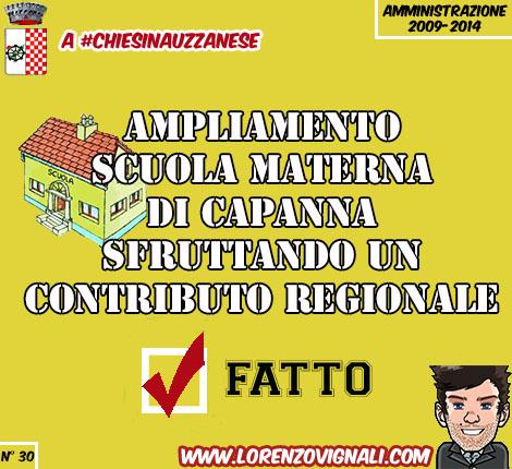 Ampliamento Scuola materna di Capanna sfruttando un contributo regionale.